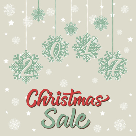 Christmas Sale 2017 lettering. Handwritten text, calligraphy. For posters, banners, leaflets and brochures.