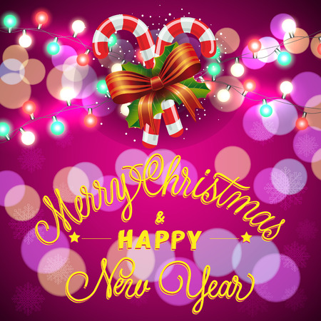 typed: Merry Christmas and Happy New Year lettering. Christmas greeting card with garlands and candy canes. Handwritten and typed text, calligraphy. For greeting cards, posters, leaflets and brochures. Illustration