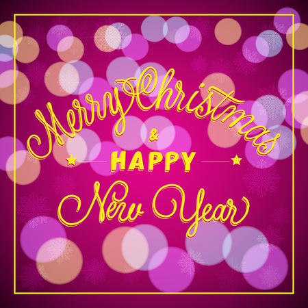 typed: Merry Christmas and Happy New Year lettering in frame. Christmas greeting card with blurred circles. Handwritten and typed text, calligraphy. For greeting cards, posters, leaflets and brochures.