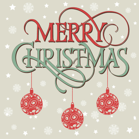 typed: Merry Christmas lettering. Christmas greeting card with three hanging balls. Typed text. For greeting cards, posters, leaflets and brochures. Illustration