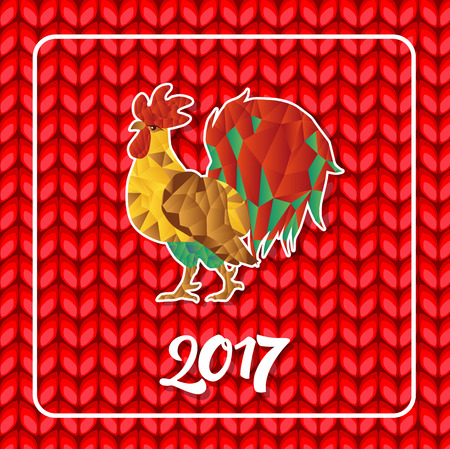 Mosaic Rooster and 2017 lettering in frame on knitted pattern. Christmas greeting card. Handwritten text, calligraphy. For greeting cards, posters, leaflets and brochures.