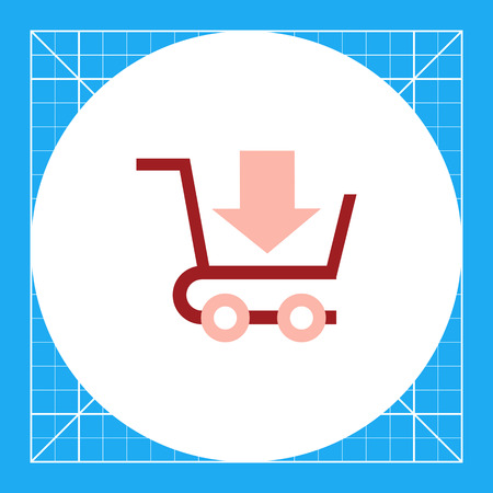 Icon of shopping cart with down-directed arrow
