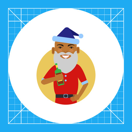 Male character, portrait of African American man wearing Santa costume, holding bottle Illustration