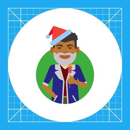 Male character, portrait of African American man wearing Santa costume, holding firecracker