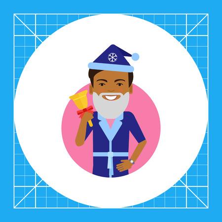 handbell: Male character, portrait of African American man wearing Santa costume, holding handbell Illustration