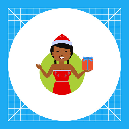 santa costume: Female character, portrait of smiling African American woman wearing Santa costume, holding gift box