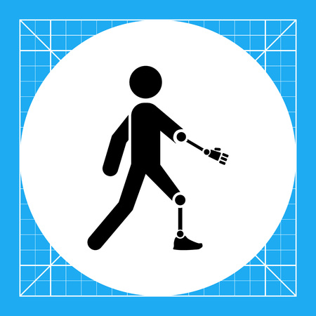 Person with artificial arm and leg. Limb, amputated, care. Disabled concept. Can be used for topics like medicine, health, marketing.