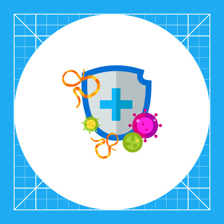 disease prevention: Shield with cross sign attacked by bacteria. Antibacterial shield protection, antivirus, defense. Antibacterial concept. Can be used for topics like disease prevention, computer virus, protection
