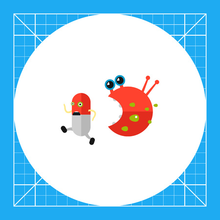 escaping: Antibiotic cartoon character running from bacteria character. Capsule, pill, infection, virus. Infection concept. Can be used for topics like infection, health care, disease