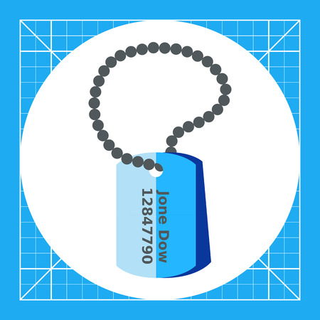 personal identification number: Army tags flat icon. Multicolored vector illustration of military identification tags