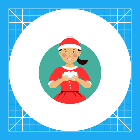 early teens: Female character, portrait of smiling Asian teenage boy wearing Santa costume, holding snowballs