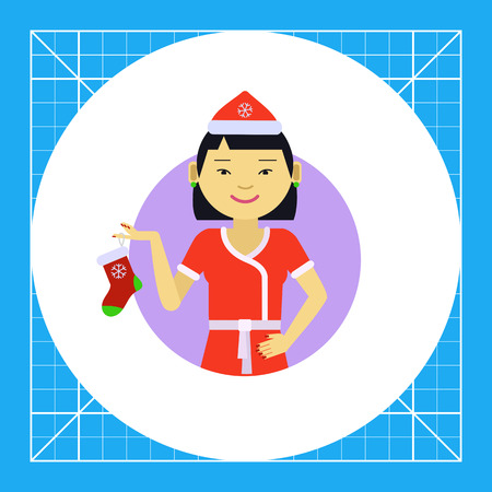 santa costume: Female character, portrait of Asian woman wearing Santa costume, holding Christmas sock