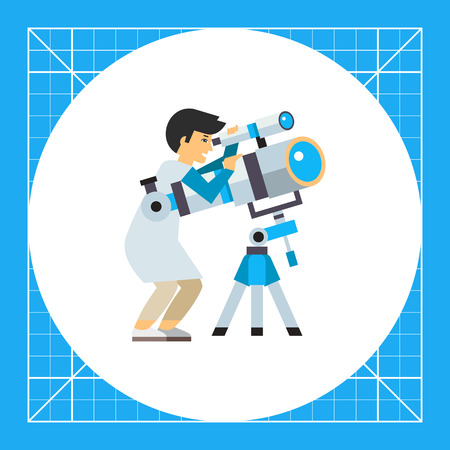 astronomer: Astronomer using telescope. Scientist, magnification, exploration. Space concept. Can be used for topics like astronomy, physics, science. Illustration