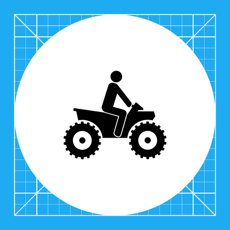 quad: Person riding quad bike. ATV, male silhouette, four-wheeler. Transport concept. Can be used for transport, leisure activities, extreme