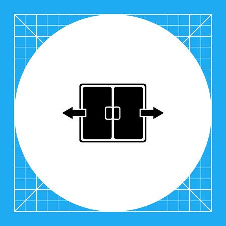 Monochrome vector icon of automatic double folding door