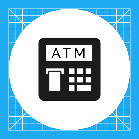 automatic teller machine: Vector icon of automatic teller machine with receipt