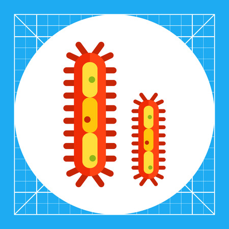 micro organism: Multicolored vector icon of bacteria with flagella Illustration