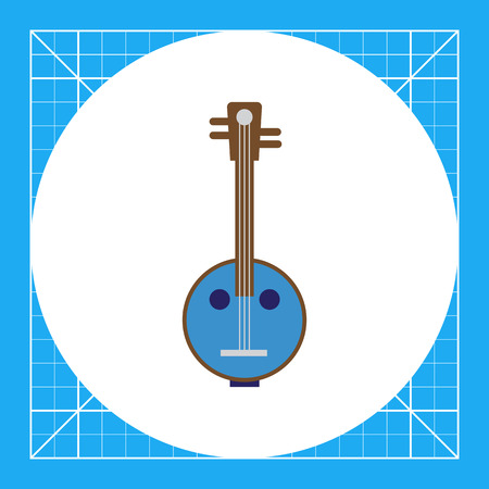 stringed: Vector icon of light blue banjo instrument