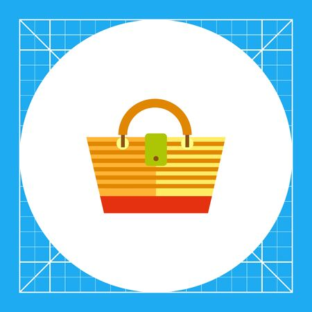 wicker: Striped beach bag. Wicker, carrying, woman. Beach bag concept. Can be used for topics like summer, vacation, resorts.