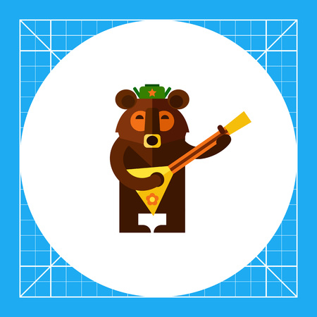 Multicolored vector icon of Russian bear wearing warm hat and playing balalaika Illustration