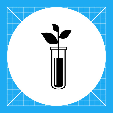 bioscience: Monochrome vector icon of flask with plant representing biotechnology concept
