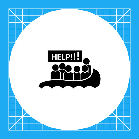 migrant: Boat with refugees asking for help. Danger, threat, violence. Victim concept. Can be used for topics like terrorism, war, immigration. Illustration