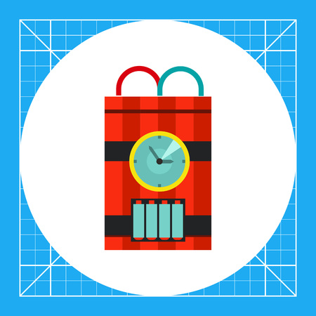detonating: Bomb with timer icon. Multicolored vector illustration of ticking bomb with red and blue wire