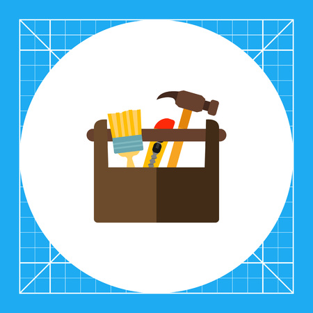 Vector icon of box with painting brush, knife, hammer