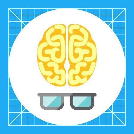 Icon of brain with glasses 일러스트