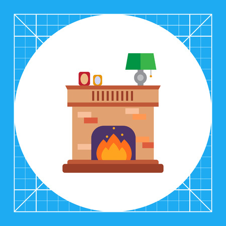 Vector icon of brick fireplace with flame decorated with photo frames and lamp