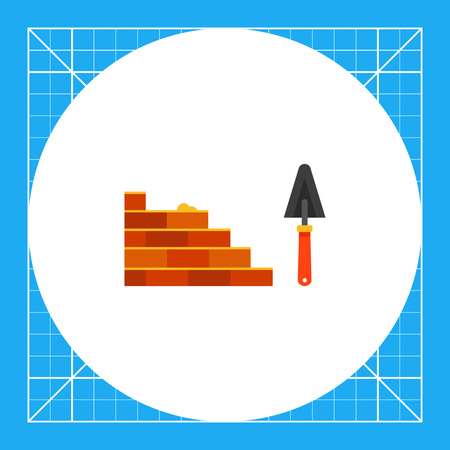 bricklaying: Multicolored vector icon of bricklaying and trowel Illustration