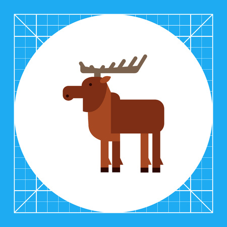 Multicolored vector icon of wild brown moose, side view