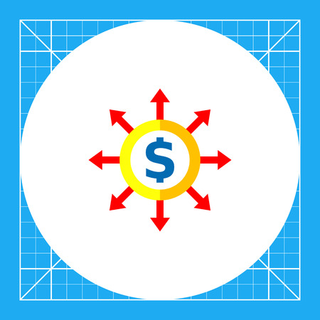 Dollar sign in circle with diverging arrows. Money, costs, strategy. Budget concept. Can be used for topics like business, management, finance, business planning.