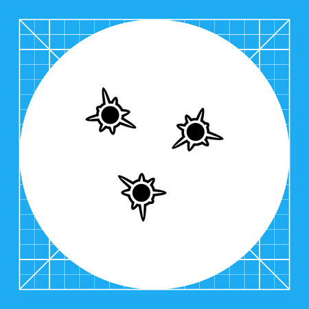Monochrome vector icon of three jagged bullet holes in paper