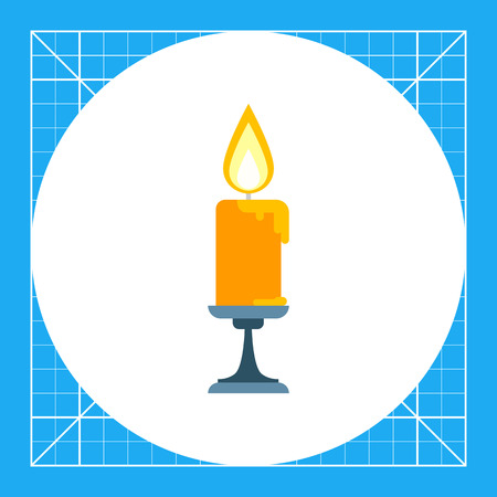 Icon of burning candle in sconce
