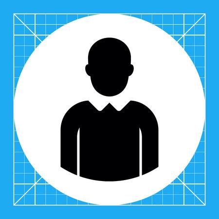 faceless: Vector icon of single faceless businessman silhouette