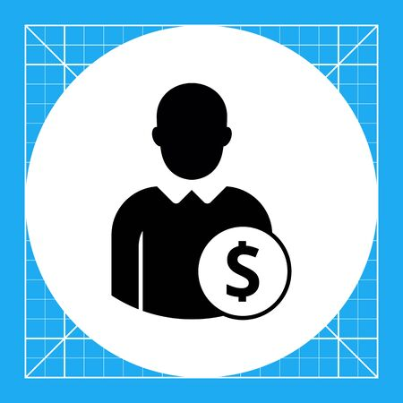 faceless: Vector icon of single faceless businessman silhouette with dollar sign in circle Illustration