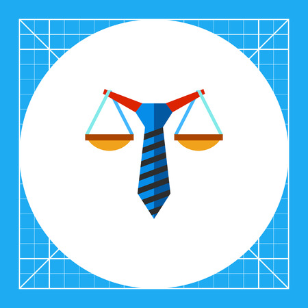 balancing: Illustration of stylized scales balancing on tie. Business law, commercial law, concluding contract. Business law concept. Can be used for topics like business law, contract, business
