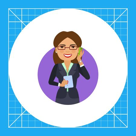 Female character, portrait of businesswoman in glasses talking on phone and holding notebook