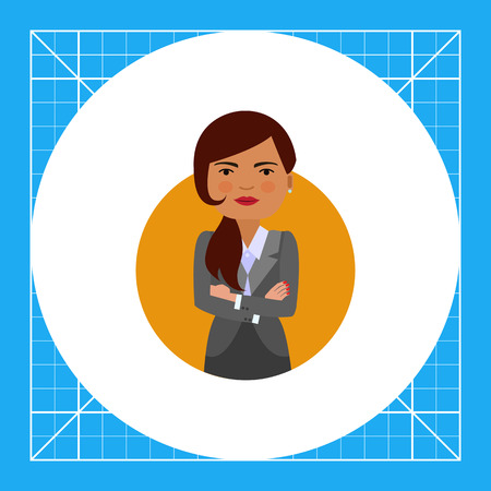 blank expression: Female character, portrait of businesswoman with her hands crossed on chest Stock Photo