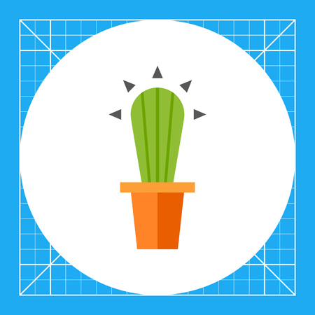 the spikes: Multicolored vector icon of cactus in flower pot Illustration
