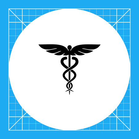 Symbol of medicine. Emblem, snake, care. Caduceus concept. Can be used for topics like medicine, health, healthcare, mythology.
