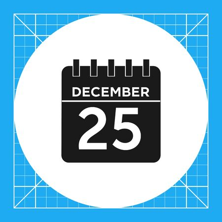 calendar page: Icon of flip calendar page with December, 25 inscription