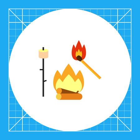 Campfire, match and marsh-mallow on stick. Camp, nature, weekend. Campfire concept. Can be used for topics like summer, vacation, hiking.