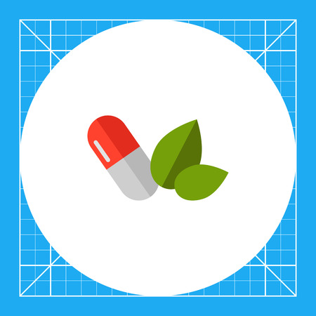 Multicolored vector icon of white red capsule and green leaves Illustration