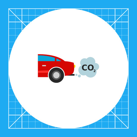 emitting: Illustration of car emitting carbon dioxide. Emission, smoke cloud, pollution, environment. Pollution concept. Can be used for topics like air pollution, environment, transport, ecology