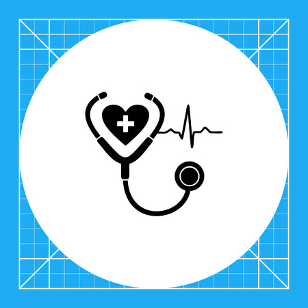 representing: Monochrome vector icon of human heart, stethoscope and cardiac rate representing cardiology concept