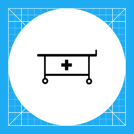 emergency cart: Cart with medical cross for transportation for cure. Emergency, hospital, care. Patient transportation concept. Can be used for topics like medicine, health, healthcare. Illustration