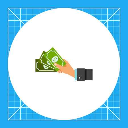 Human hand holding green dollar banknotes. Money, payment, wealth. Cash concept. Can be used for topics like business, management, banking, finance. Illustration