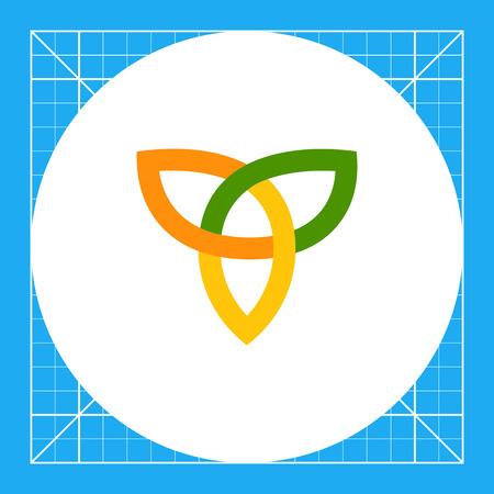 Multicolored vector icon of orange-yellow-green Celtic ornament Illustration